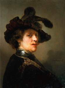Tronie' of a Man with a Feathered Beret rembrandt